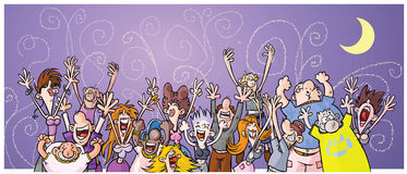 Cartoon Night Party People. Stock Photo