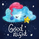 Cartoon night scene with cute cloud and star Stock Image
