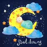Cartoon night scene with cute cloud and star Stock Photos