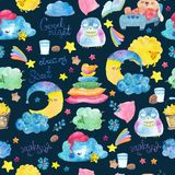 Cartoon night scene with cute cloud and star, seamless pattern Royalty Free Stock Image