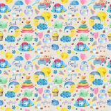 Cartoon night scene with cute cloud and star, seamless pattern Royalty Free Stock Photos