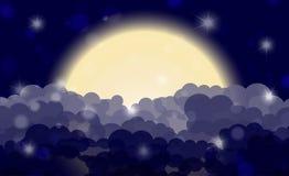 Cartoon night shining cloudy sky with moon Stock Photography