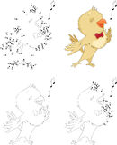 Cartoon nightingale. Coloring book and dot to dot game for kids Stock Photography