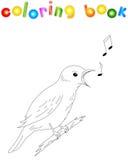 Cartoon nightingale coloring book Stock Image