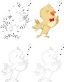 Cartoon nightingale. Dot to dot game for kids Royalty Free Stock Images
