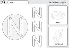 Cartoon nightingale and nest. Alphabet tracing worksheet: writin Royalty Free Stock Photos