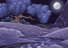 Cartoon nightly landscape with stream stock illustration