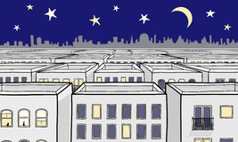 Cartoon Nightscape Royalty Free Stock Image
