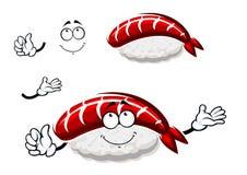 Cartoon nigiri sushi with marinated shrimp Stock Images