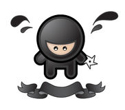 Cartoon ninja. On white background Stock Photos