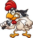 Cartoon ninja chicken with sword. Cartoon ninja chicken with a sword. Vector clip art illustration with simple gradients. All in a single layer Royalty Free Stock Image