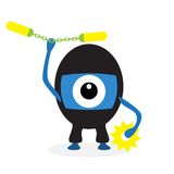 Cartoon ninja cyclops. Isolated on white background Stock Images