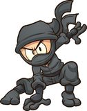 Cartoon ninja doing a three point landing. Vector clip art illustration with simple gradients. All in a single layer Royalty Free Stock Photo