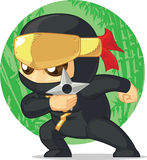 Cartoon of Ninja Holding Shuriken Royalty Free Stock Photos