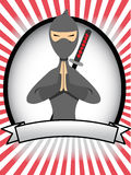 Cartoon Ninja Oval Banner Ad Stock Image