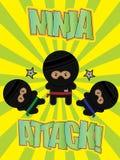 Cartoon Ninja Poster. Three Cartoon Ninja's on a bright Ninja Attack Poster stock illustration