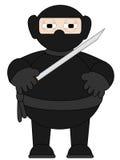 Cartoon Ninja with sword standing alone. Isolated Ninja standing with sword in hand stock illustration