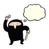 Cartoon ninja with thought bubble Stock Image