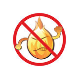 Cartoon no open fire cute sign. No flame warning symbol in funny comical style with cutey anger expression. Cartoon fire character. Vector format (CS2) is Royalty Free Stock Images