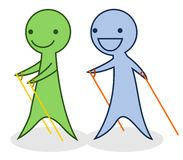 Cartoon nordic walking Royalty Free Stock Images