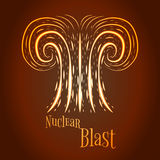 Cartoon nuclear blast vector illustration. Abstract style Royalty Free Stock Images