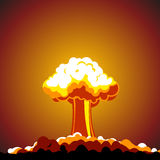 Cartoon Nuclear explosion. Vector illustration Stock Photos
