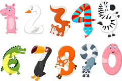 Cartoon of number with a animal concept Royalty Free Stock Photo