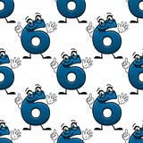 Cartoon number six seamless pattern Royalty Free Stock Images