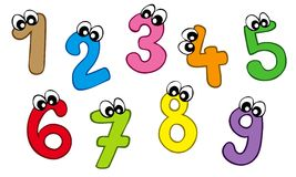 Cartoon numbers. On white background -  illistration Royalty Free Stock Photography