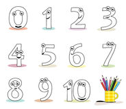 Cartoon numbers. Funny cartoon numbers in black and white. Useful for colouring book pages for kids. Vector file (.ai) available Stock Image