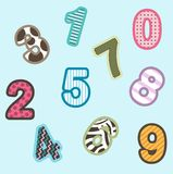 Cartoon numbers Stock Images