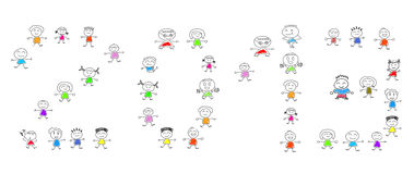 Cartoon numbers 2013 and many children. On white stock illustration