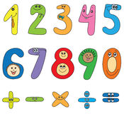 Cartoon numbers. Cheerful cartoon numbers on white background Royalty Free Stock Images