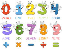 Cartoon Numbers Characters. Funny cartoon numbers characters. Useful also for educational or preschool books for kids. Eps file available Stock Illustration