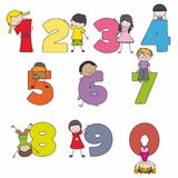 Cartoon numbers and children. Learn numbers Stock Images