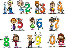 Cartoon numbers and children,vector. Cartoon numbers and children , vector illustratioh picture Royalty Free Stock Photography