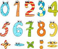 Cartoon numbers. Cartoon funny  digits and numbers Royalty Free Stock Photography