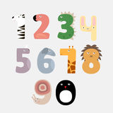 Cartoon numbers like animals. Vector animals illustration Stock Photo
