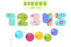 Cartoon numbers 1, 2, 3, 4, 5 and sling beads. Funny cartoon style colorful vector numbers 1, 2, 3, 4, 5 set with sling wire beads Royalty Free Stock Photo