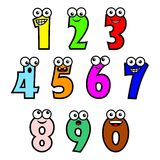 Cartoon numbers. Vector illustration of funny cartoon style multicolor number characters  on white background Royalty Free Stock Photo