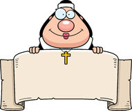 Cartoon Nun Banner Royalty Free Stock Photo