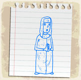 Cartoon nun on paper note, vector illustration Royalty Free Stock Photo