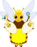 Cartoon nurse bee with babies. Isolated on white background royalty free illustration