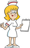 Cartoon nurse with a clipboard. Cartoon illustration of a nurse holding a clipboard and giving thumbs up Stock Image