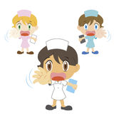 Cartoon nurse with a denial of action Stock Image