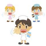 Cartoon nurse with a denial of action. Nurse with a denial of action, three colors Stock Image