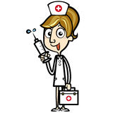 Cartoon Nurse with First Aid Kit and Syringe Stock Image
