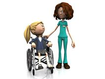 Cartoon nurse and girl in wheelchair. Royalty Free Stock Photo