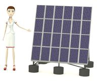Cartoon nurse with solar panel Stock Image