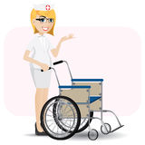 Cartoon nurse with wheelchair Royalty Free Stock Photography